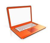 Orange Laptop computer isolated on white — Stock Photo