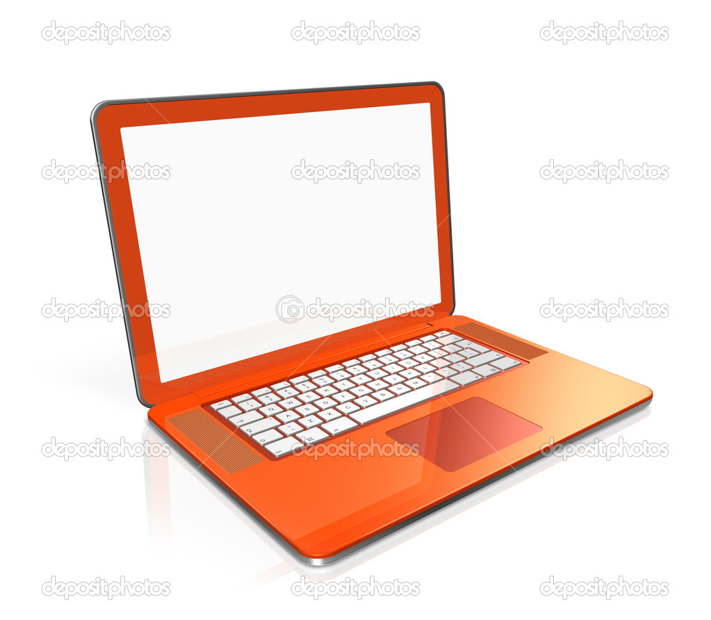 Stock Photo Orange Laptop  puter Isolated On White