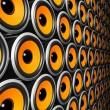 Orange speakers wall - Stock Photo