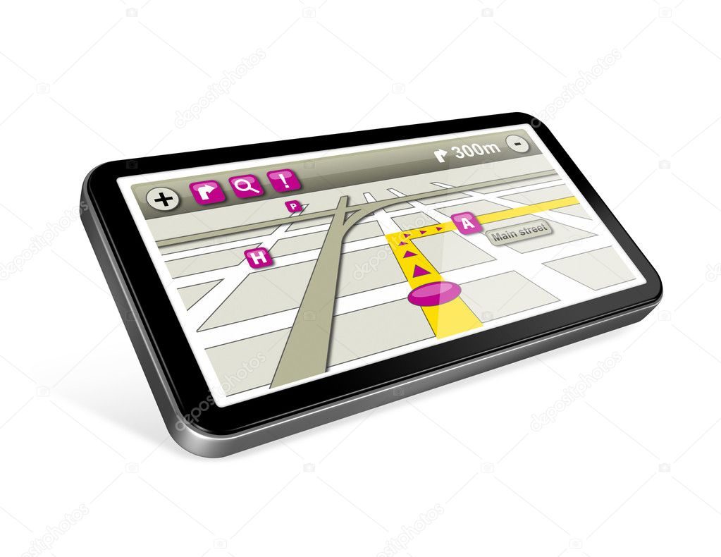 Three dimensional GPS navigator with 2 clipping path : one for the phone and one for screen. — Stock Photo #6380126