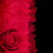 Red and black card with rose and hearts — ストック写真