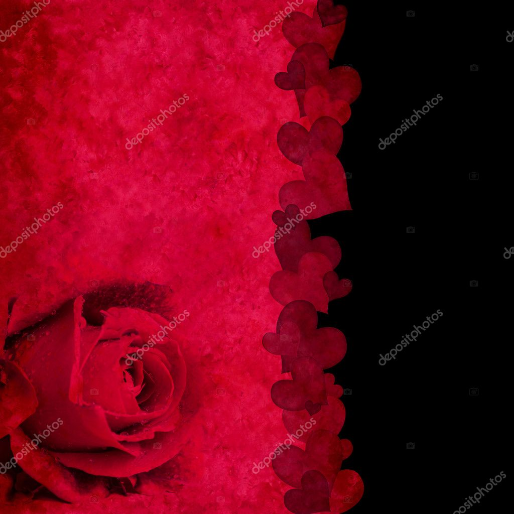 Elegant red and black background with grunge texture with rose and hearts border — Stock Photo #5662732
