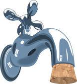Faucet tap water sink plumbing cork — Stock Vector