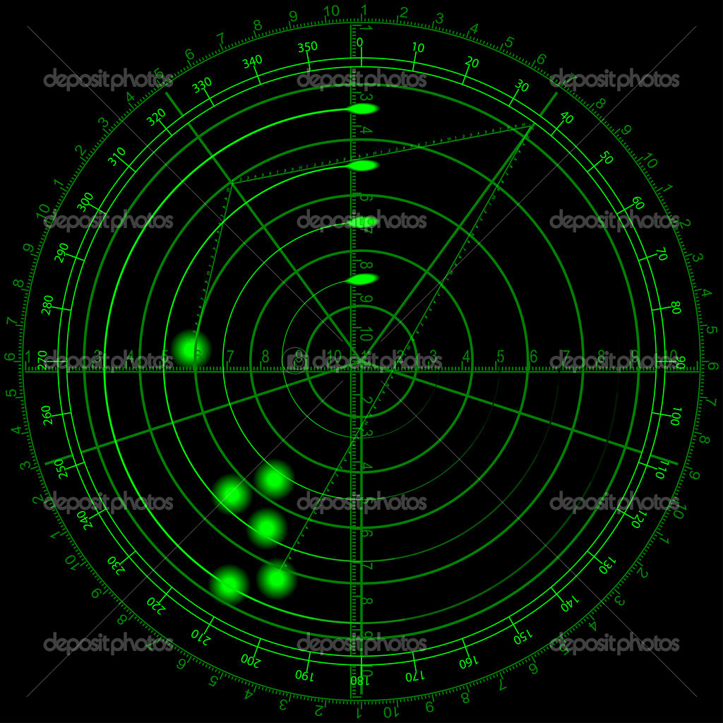 Vector Illustration Of Airplane Routes On Radar Screen Royalty ...