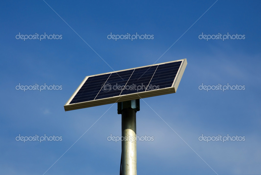 Road sign with solar panels (Europe, Italy) — Stock Photo #6588054
