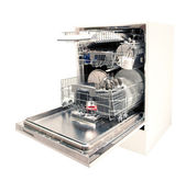 Modern dishwasher open — Stock Photo
