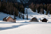 Chalet in the snow - Dolomites — Stock Photo
