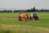 Irrigation with tractor on a wheat field — Stock Photo