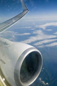 Plane wing with engine. — Stock Photo
