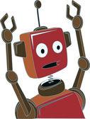 Cartoon Robot surprised expression raised claw arms — Stok Vektör