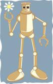 робот, держа цветок ромашка внутри коготь стороны — Cтоковый вектор