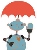 Cute Robot with Umbrella attached to head waving — Stock Vector