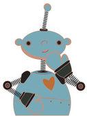 Verlegen blauwe kind robot illustratie — Stockvector