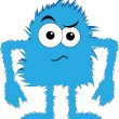 Blue furry monster upset face - Stock Vector