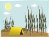 Single camp tent on hilly forest daylight — Stock Vector