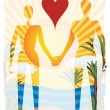 Love in paradise abstract couple silhouetted by beach — Stock Vector