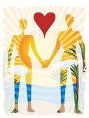 Láska v ráji abstraktní pár ozářená beach — Stock vektor