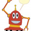 Cartoon Red Robot Waving blank chat bubble — Stock Vector