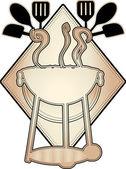 Bbq logo silueta prvek tan hnědá — Stock vektor