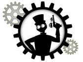 Silhouette of steampunk man holds gun inside gear — Stock Vector