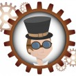 Youthful cartoon steampunk man inside gear - Stock Vector