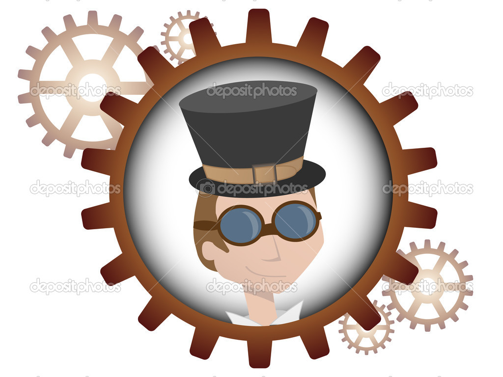 Logo style portrait of young man inside multiple bronze gears — Stock Vector #5983368