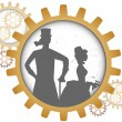 Silhouettes of steampunk couple inside shadow gear — Stock Vector #5990229