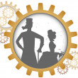Постер, плакат: Silhouettes of steampunk couple inside shadow gear