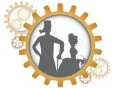 Silhouettes of steampunk couple inside shadow gear — Stock Vector