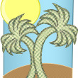Halftone Palm Trees Big Sun on Island — Stockvektor
