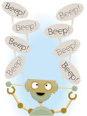 Insane cute robot saying beep — Stock Vector
