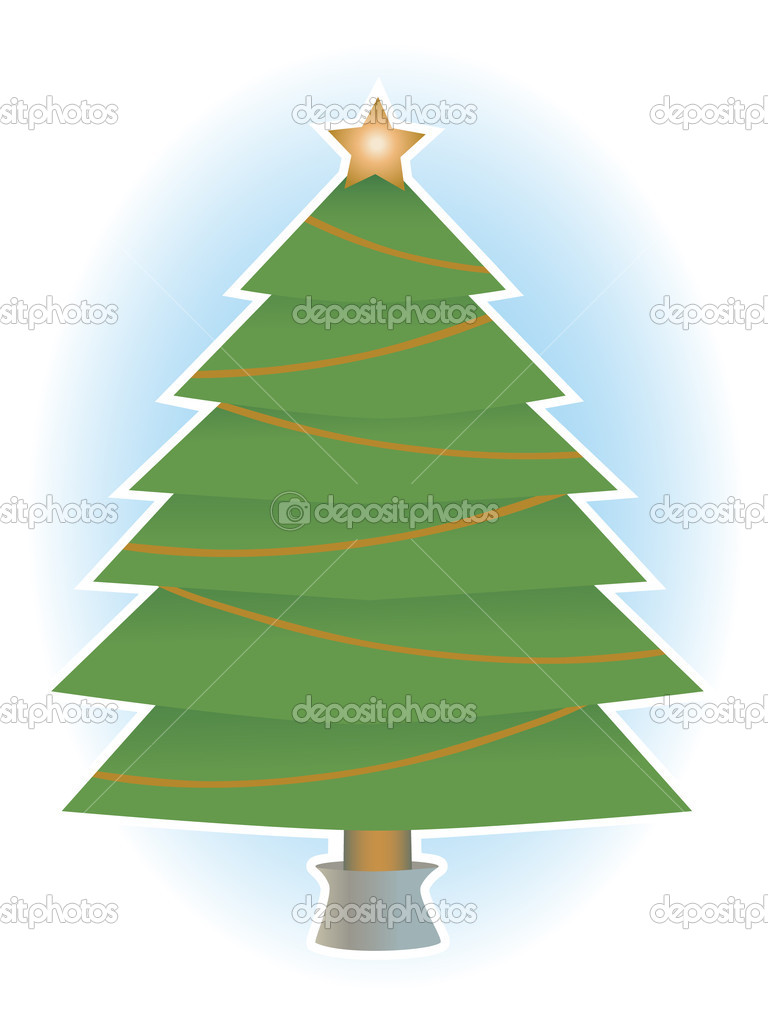 Classic simple holiday tree with no ornaments only star a top, vector illustration  Stock Vector #6381781