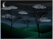 Creepy grim bare tree night scene half moon — Stock Vector