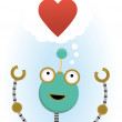 Stock Vector: Robot hoping for love