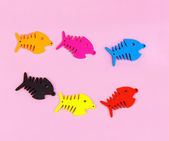 Various colors fishbones with pink banckground — Stock Photo
