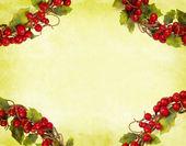 Kağıt üzerinde Noel süslemeleri kiraz çerçeve — Stok fotoğraf