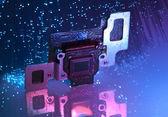 Bir karta fiber optik arka plan dijital fotoğraf makinesinin ccd sensör — Stok fotoğraf