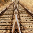 Rail Road Tracks - electrical. Looking down the train tracks — Stock Photo #6552488