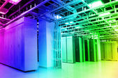Network cables and servers in a technology data center — Stock Photo