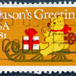 Postage stamp USA 1981 Teddy on sled - Stock Photo