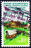 Postage stamp USA 1974 Fort Harrod and oxcart — Стоковое фото