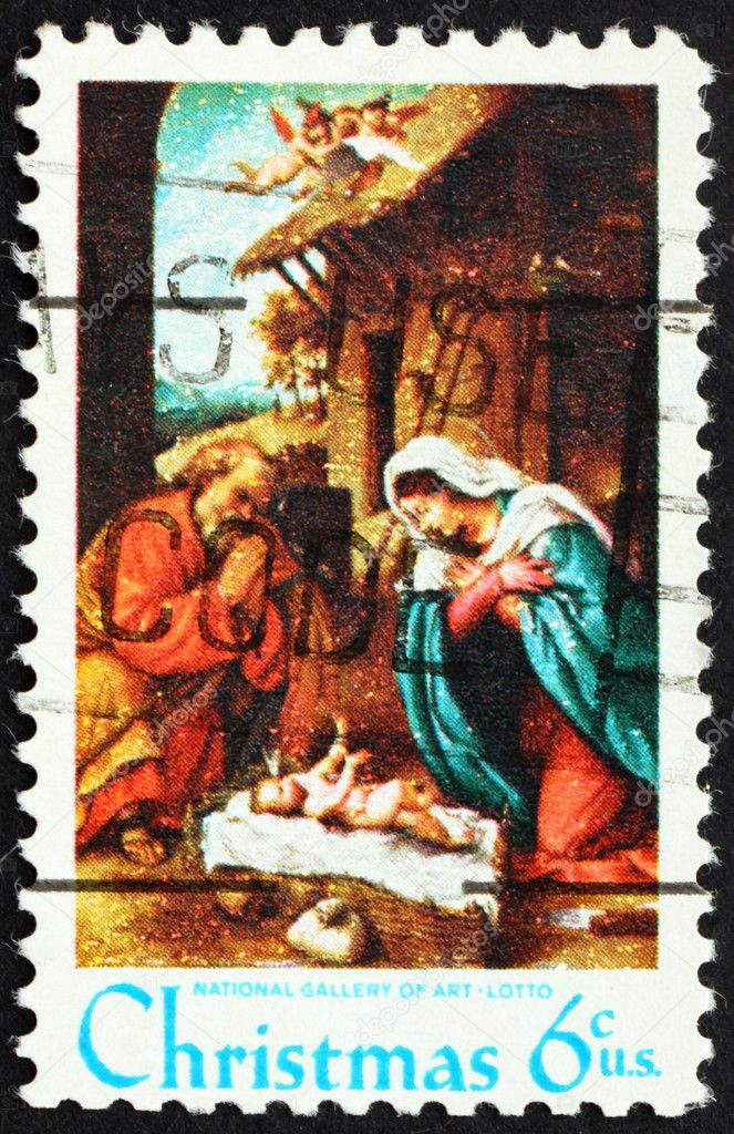 UNITED STATES OF AMERICA - CIRCA 1970: a stamp printed in the United States of America shows Nativity picture of Lorenzo Lotto, circa 1970 — Stock Photo #6361213