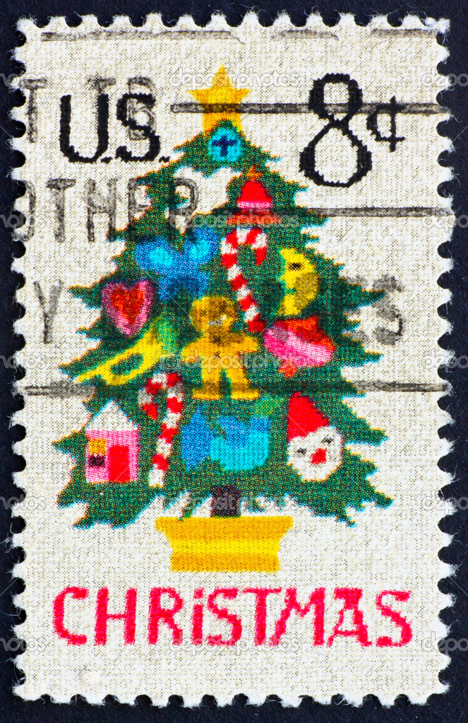 UNITED STATES OF AMERICA - CIRCA 1973: a stamp printed in the United States of America shows  Christmas tree in Needlepoint, circa 1973 — Stock Photo #6361307