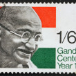 Stock Photo: Postage Stamp GB 1969 Mahatma Gandhi and Flag of India