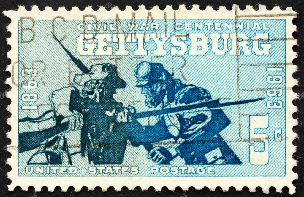 United States of America - circa 1963: a stamp printed in the United States of America shows two soldiers, Blue and Gray in the Battle of Gettysburg, circa 1963 — Stock Photo #6383351