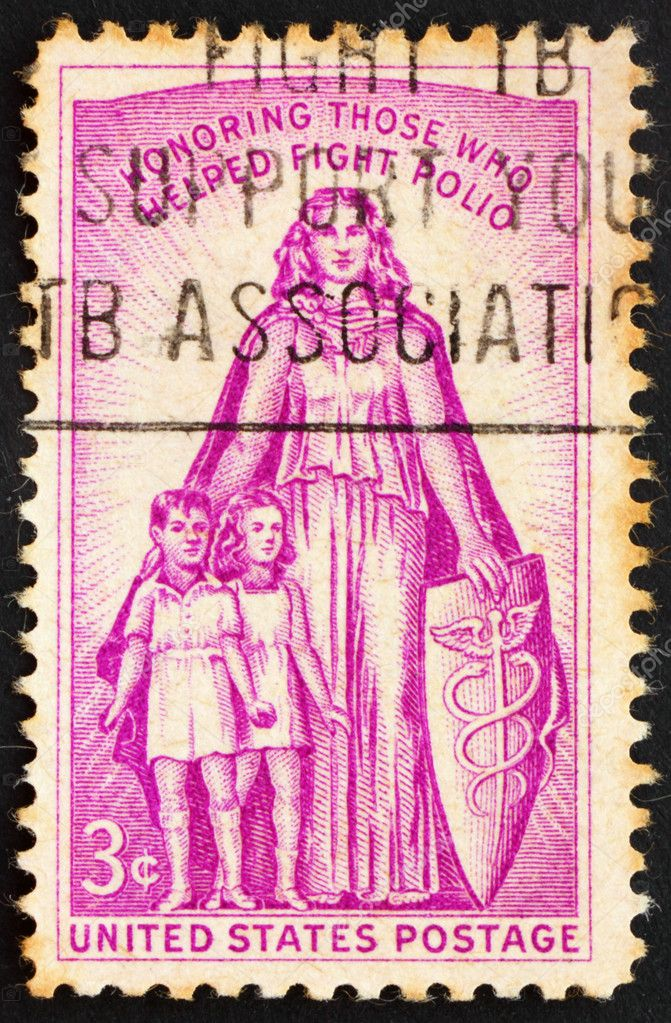 UNITED STATES OF AMERICA - CIRCA 1957: a stamp printed in the United States of America shows Allegory with inscription Honoring those who helped fight polio, ci — Stock Photo #6453835