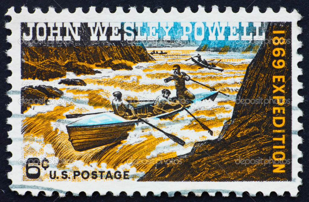 UNITED STATES OF AMERICA - CIRCA 1969: a stamp printed in the United States of America shows John Wesley Powell Exploring Colorado River, circa 1969 — Stock Photo #6453846