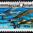 Postage stamp USA 1976 Planes of commercial aviation - Stock Photo