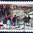 Stock Photo: Postage stamp US1976 Painting Winter Pastime, by Nathaniel Cur