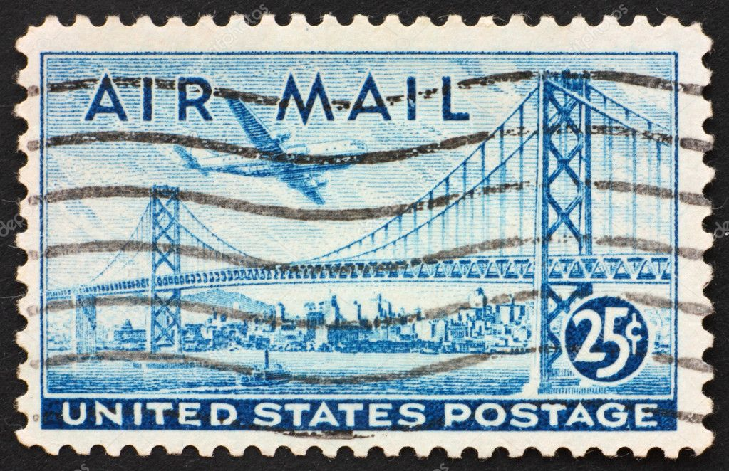 UNITED STATES OF AMERICA - CIRCA 1947: a stamp printed in the United States of America shows plane over San Francisco  — Stock Photo #6692787